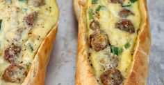 Egg Boats, they literally take less than five minutes to prep. Sourdough baguettes filled with sausage, eggs and lots of cheese, baked until hot and toasty… so so good!