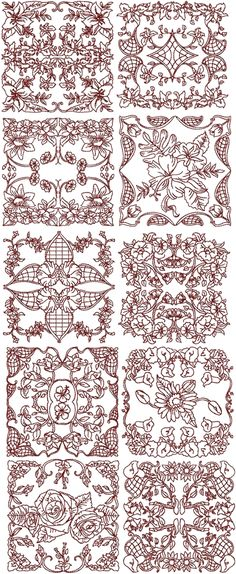 Advanced Embroidery Designs - Redwork Flower Medallion Set II