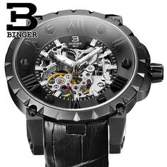 >> Click to Buy <<  Men Wristwatches 3D Skeleton Dial Sapphire Luminous Clock Leather Strap Automatic Self-Wind Mechanical Watch BINGER Big Dial #Affiliate