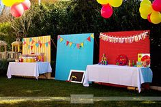 "Tabby's baby shower. This gives me an idea for decorations. Three panels with fabric to differentiate each area, food, desserts, drinks, etc"".."