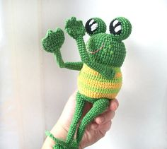 FREE SHIPPING Green Toad eco-friendly  crocheted toy  by OlaLaToys