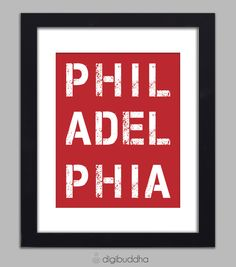 Philadelphia Phillies Red Stencil Typography Poster Word Art Decorative Wall Art 8x10 Urban City Subway Art Modern Poster Wall Decor Print