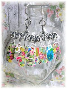 Silver Chandelier Dangle Panel Earrings Floral by TheVintageHeart Shabby Chic Flowers Retro Boho Chic Hippie Chick