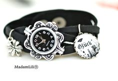 """Skórzany zegarek damski """"Szczęście"""" #Ribell #MadameLili #zegarki #handmade #moda >> Wybierz Twój na: https://www.ribell.pl/zegarki-recznie-robione-handmade"""