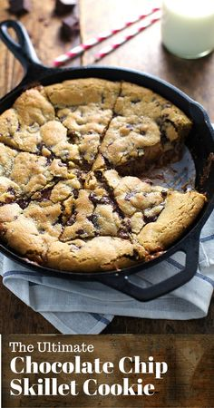 The ultimate chocolate chip skillet cookie. Where I come from there is a place that calls this a pizzookie - get it? Pizza cookie? I just called it delicious. Cooking a giant chocolate chip cookie cake in a skillet requires a few tricks - but it's still really simple. And oh so good. My kids like it ooey-gooey but I'm more in it for the cookie.