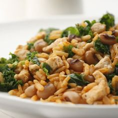 BLACK-EYED PEAS WITH PORK AND GREENS *Large nonstick skillet .  http://www.delish.com/recipes/cooking-recipes/southern-recipes#slide-1