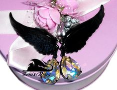 "Earrings ""Black angel"" wings and pendants with crystals in Vintage, Steampunk, Gothic, Fantasy styles jewelry"