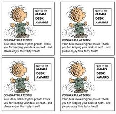 Snoopy theme classroom Clean Desk Award