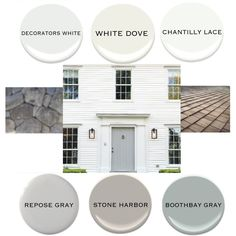 Exterior idea board : white siding   gray door : BM decorators white, white dove, or chantilly lace for siding   SW repose gray, BM stone harbor, or boothbay gray for door   cedar shingle roof   Pennsylvania fieldstone foundation and steps