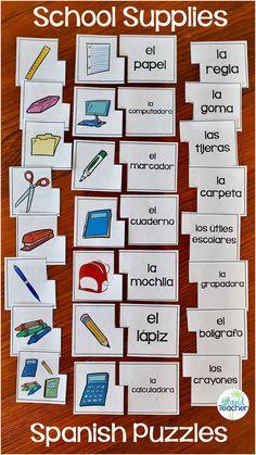 School Supplies Puzzles Practice Spanish School Supplies with matching puzzles.Practice Spanish School Supplies with matching puzzles. Spanish Lessons For Kids, Spanish Lesson Plans, Spanish Activities, Vocabulary Activities, French Lessons, Spanish Games, Preschool Worksheets, Preschool Crafts, Spanish Teacher