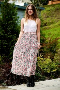 VTG 90s Muted Floral Sheer Express Maxi Skirt XS/S by UrbanXchange, $38.00