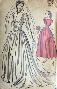 1940s Gorgeous Victorian Gothic High Neckline Wedding Gown Bridal Bridesmaid Dress Pattern Fitted Bodice, Lovely Sleeves, Long Train Version, Ballarina Length Bridesmaid Dress Advance 4800 Vintage Sewing Pattern Bust 34 FACTORY FOLDED