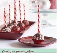 Candy Cane Brownie Lolipops