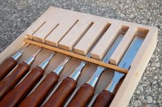 """ivamir: """" Its my hope is that these chisels and box last for 100 years. Woodworking Tool Cabinet, Woodshop Tools, Antique Woodworking Tools, Woodworking Crafts, Woodworking Shop, Woodworking Classes, Wood Tool Box, Wood Tools, Garage Atelier"""