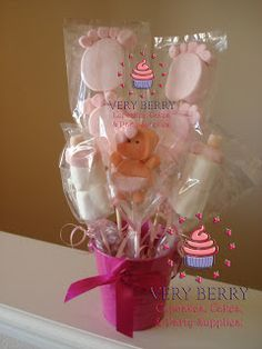 Veryberry Cupcakes: BABY MARSHMALLOW POPS CENTER PIECE