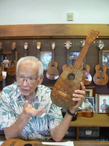 """Fred Kamaka with the Original Painted Pineapple. When I was at the Kamaka Factory Fred said they had it appraised, and it was appraised at: """"Priceless""""."""