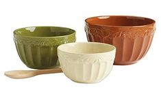 Harvest Acorn Ceramic Mixing Bowls Set of 3 >>> Visit the image link more details.