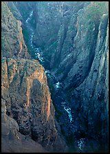 View down steep rock walls and narrow chasm. Black Canyon of the Gunnison National Park ( color)