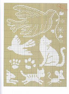 Animal pattern with cats, mouse and pigeons for cross-stitch embroidery Cross Stitch Bird, Cross Stitch Samplers, Cross Stitch Animals, Cross Stitch Charts, Cross Stitching, Cross Stitch Embroidery, Embroidery Patterns, Crochet Cross, Crochet Chart