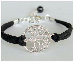 Elegir Color / tamaño, pulsera árbol de la vida de plata, cordón de cuero de imitación gamuza karma árbol de la vida encanto pulsera de la amistad, regalo para él, bajo 10