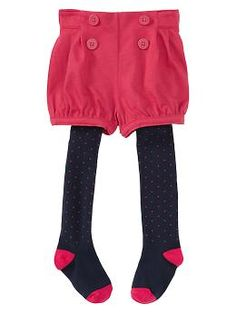 $34.95 Shorts with built-in tights.      Easy pull-on waistband.      Decorative anchor-print buttons at front.      Cuffed elasticized hem at leg openings.      Attached soft knit tights with allover dot print.      Reinforced heel and toe.    fit & sizing        Comfortable elasticized back waist.