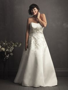 A-line Sweetheart Satin Sweep Train Embroidery Wedding Dresses Shop uk