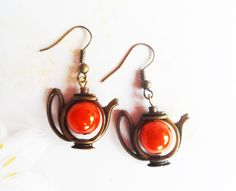 Quirky brass teapot earrings with orange glass beads, antique style brass, vintage style, Alice in Wonderland, Selma Dreams, gifts under 20 by SelmaDreams on Etsy