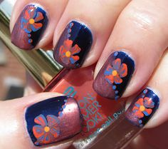 Dark Blue and Cooper Nails with Flowers and Polka Dots