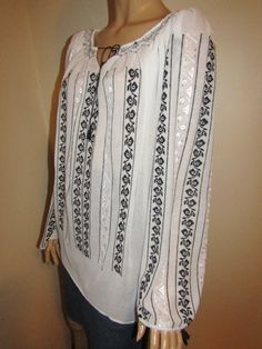 Hand embroidered Romanian peasant blouse, hand stitched ethnic Romanian top - size M /L long Peasant Blouse, Hand Stitching, Cross Stitch, Costumes, Casual, Shirts, Tops, Women, Fashion