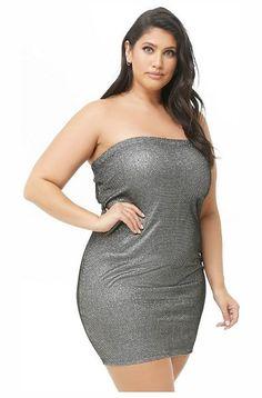 a5cb1f4728 FOREVER21 PLUS Plus Size Metallic Tube Dress