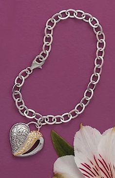 """""""Rhodium Plated Sterling Silver Bracelet, 7 inch, 7/8 inch 14K Gold Plated Cubic Zirconia CZ Heart"""""""