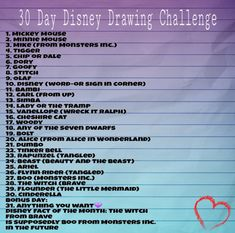 30 Day Disney Drawing Challenge - Treatment for Eczema Disney Drawing Challenge, Disney Challenge, 30 Days Squat Challenge, Thigh Challenge, Plank Challenge, Challenge Week, Drawing Ideas List, Disney Doodles, 30 Tag