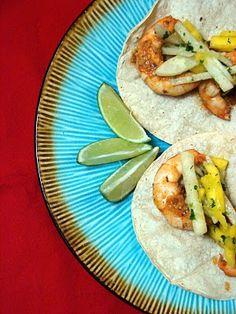 chipotle shrimp tacos with mango jicama slaw