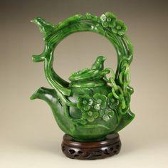Superb Chinese Hetian Jade Magpie Plum Flower Teapot