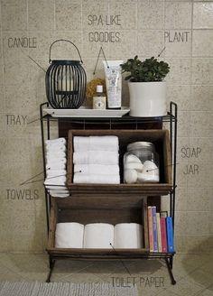 What a great use of space! ~~ Bathroom, Bathroom Ideas, Bathroom Vignette, Bathroom Decor, Bathroom Storage, Bathroom Organization