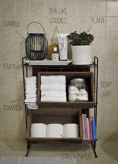 What a great use of space! ~~ Bathroom, Bathroom Ideas, Bathroom Vignette, Bathroom Decor, Bathroom Storage, Bathroom Organization
