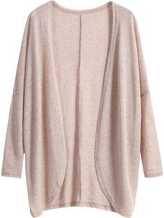 Khaki Long Sleeve Loose Knit Cardigan -SheIn(Sheinside) Mobile Site