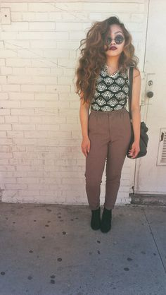 I really like the brown trousers with this printed top.  Good look x