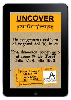 Tomorrow afternoon we'll launch Uncover, a new programme to reach older teens in Budrio!  Uncover - See for Yourself!, is an interactive Bible Study for Young Adults created by UCCF.  Together we'll engage with Luke's Gospel, which was written as an investigation into the life and purpose of Jesus Christ. Uncover will help us to investigate Jesus' claims and experience the life he offers.