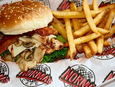 Spice up your Monday with a Bacon Swiss Mushroom Burger and fries. It's National Potato Lovers Day after all!  #NationalPotatoLoversDay #NormasCafe #Dallas #DallasTX #OakCliff #BishopArts #DowntownDallas #UptownDallas #Plano #NorthDallas #Frisco #InstaDFW #EatingDallas #DallasEats #DallasFoodie #homemade #homecooking #foodie #foodporn  #burger #bacon #cheese #fries by normascafe