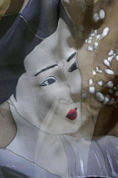 9e849efee6eb foulard en soie peint main, subtile japonaise sur soie, étole soie, écharpe  mousseline