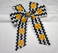 Softball Hair Bow  Long Tail Bow in Black and by BonnieJBoutique