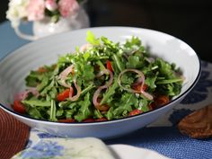 Arugula Salad with Pickled Red Onions and Champagne Vinaigrette recipe from Valerie Bertinelli via Food Network