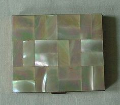 Pretty Vintage Mother of Pearl & Goldtone Compact Geometric Square SCHILDKRAUT