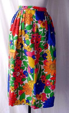 Women's 1960s Bloomcraft Flower Print Fabric Skirt