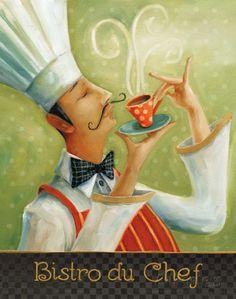 Lisa Audit Poster Print Wall Art Print entitled Cafe Moustache I Poster Prints, Framed Prints, Canvas Prints, Illustrations, Illustration Art, Cafe Art, Le Chef, My Canvas, Kitchen Art