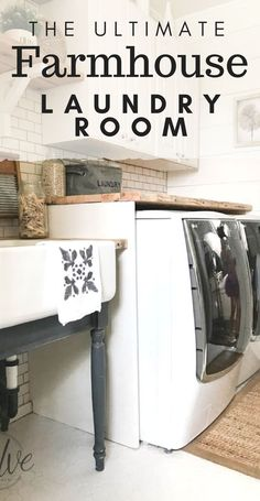 This farmhouse laundry room is full of charm. Complete with shiplap subway tile reclaimed wood shelves and countertops! This farmhouse laundry room is full of charm. Complete with shiplap subway tile reclaimed wood shelves and countertops! Diy Organisation, Laundry Room Organization, Laundry Room Design, Farmhouse Laundry Room, Laundry Rooms, Mud Rooms, Reclaimed Wood Shelves, Laundry Room Inspiration, Farmhouse Style Decorating