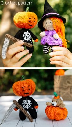 crochet pattern 3 in 1 Crochet Cow, Crochet Pumpkin, Crochet Gifts, Cute Crochet, Bear Halloween, Halloween Crochet, Easy Crochet Patterns, Crochet Patterns Amigurumi, Halloween Witch Decorations