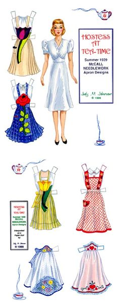 """Free Printable Vintage 1939 """"Hostess at Tea Time"""" Paper Doll w/ One Doll and 6 Outfits Aprons Vintage, Vintage Paper Dolls, Paper Dolls Printable, Printable Vintage, Free Printable, Paper Toys, Paper Crafts, Cardboard Crafts, Mode Vintage"""