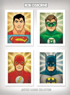 JUSTICE LEAGUE COLLECTION Comic Book Superhero Inspired Pop Art Prints 11x14 by Rob Osborne